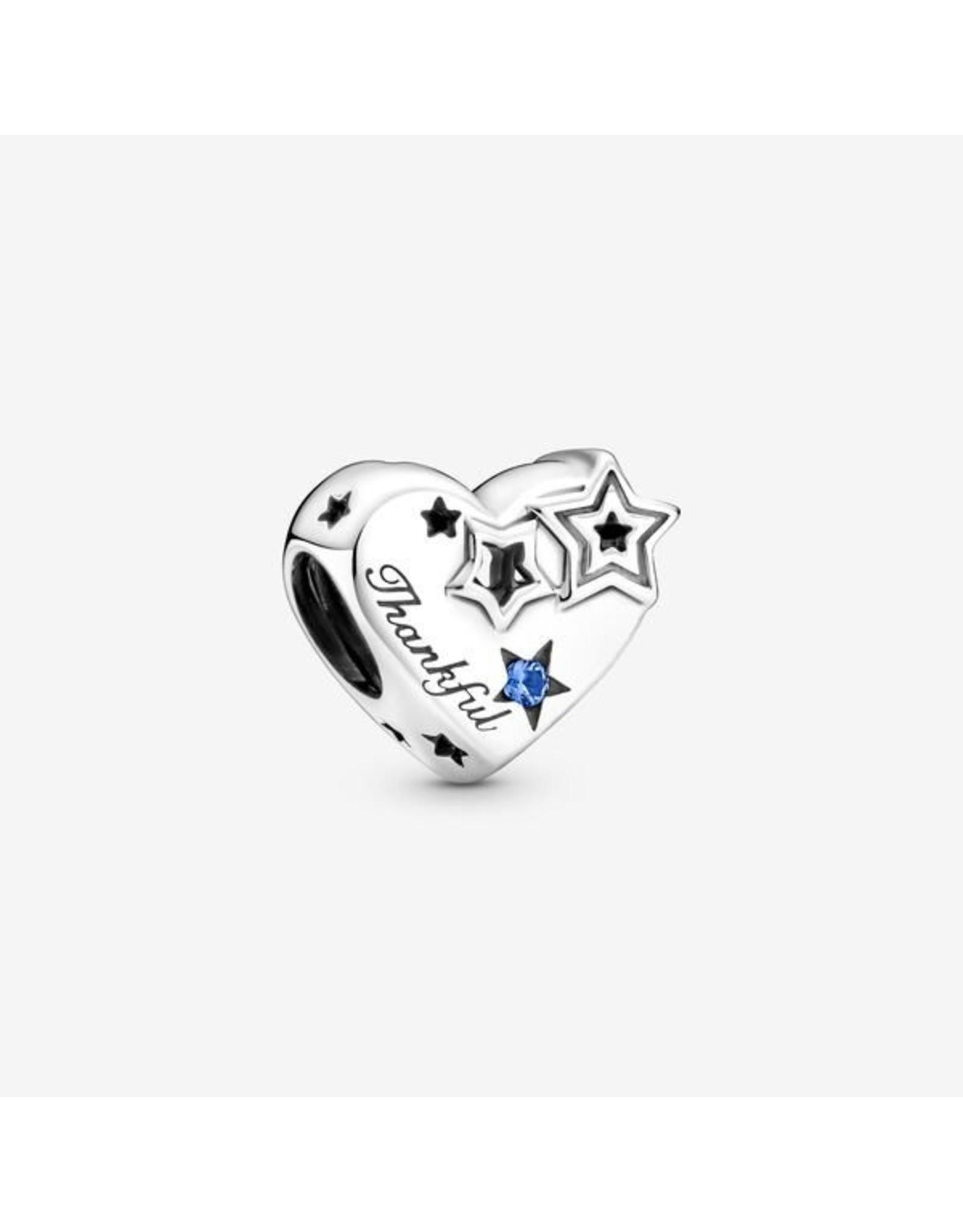 Pandora Pandora Charm,799527C01, Thankful Heart & Stars, Blue Crystal