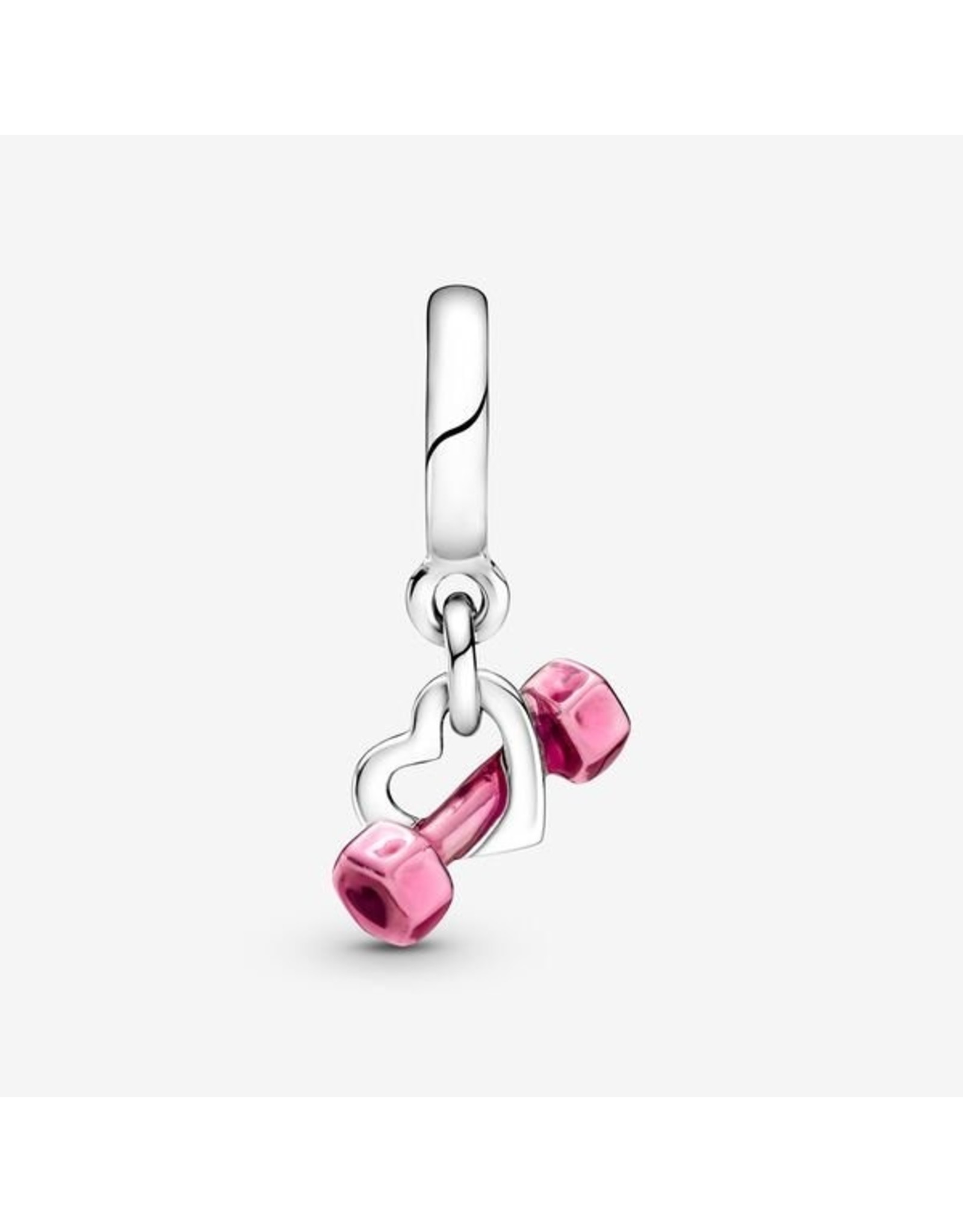 Pandora Pandora Charm,799545C01, Dumbell & Heart Dangle, Raspberry Pink Enamel