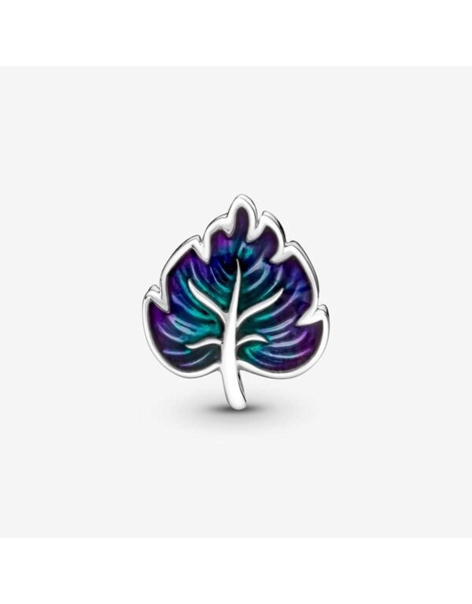 Pandora Pandora Charm, 799542C01, Purple & Green Leaf