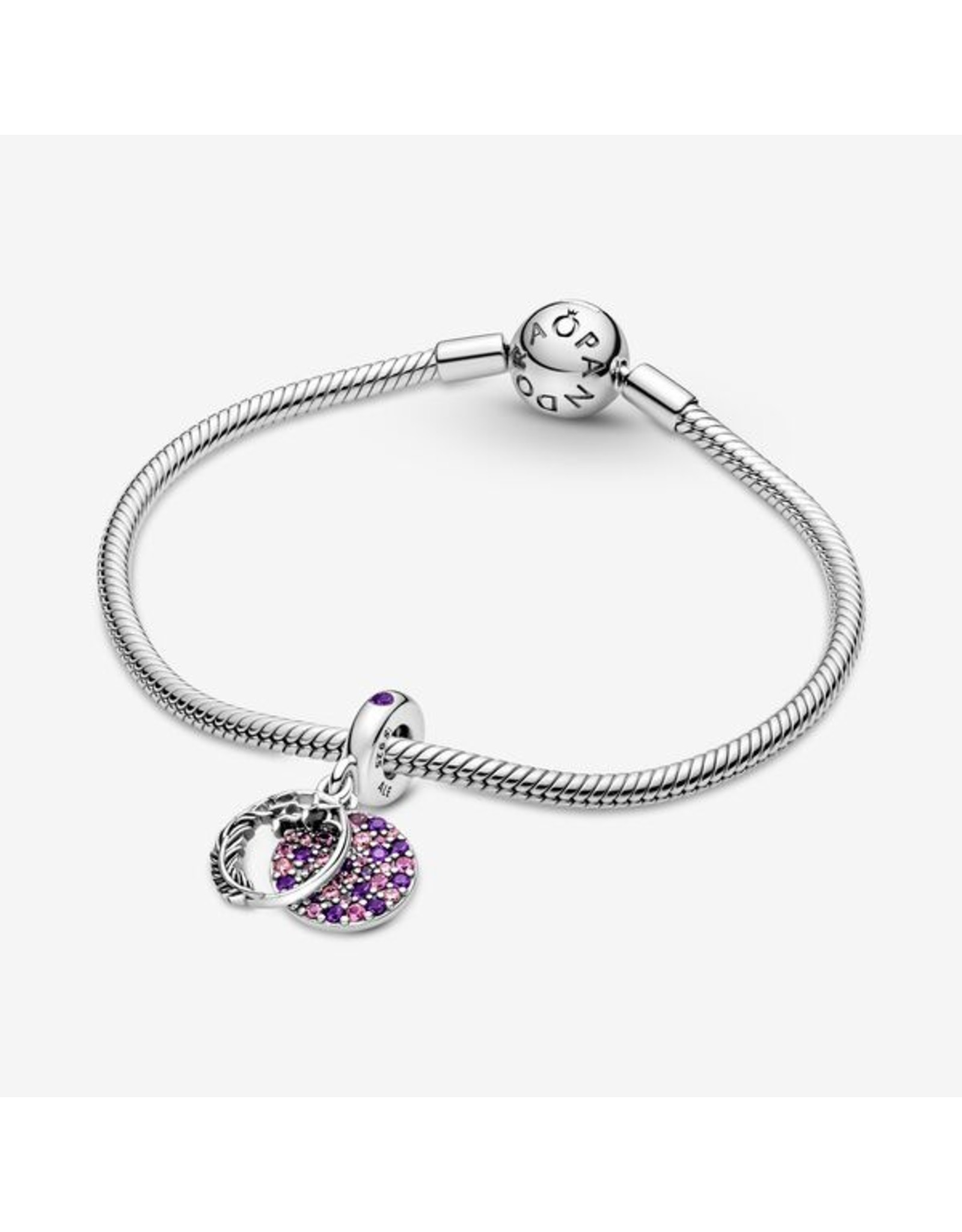 Pandora Pandora Charm,799561C01, Pavé Feather Dangle, Multi-Colored Crystals & Pink
