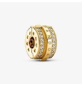 Pandora Pandora Charm,769042C01, Sparkling Lines & Logo Clip, Clear CZ, Shine