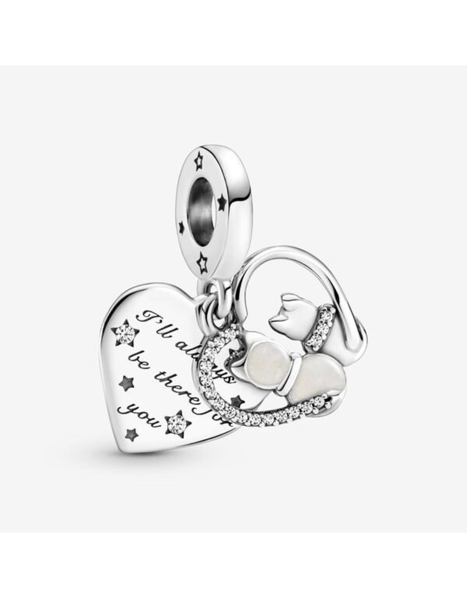Pandora Pandora Charm,799546C01, Cats & hearts Dangle, Shimmering Enamel & Clear CZ