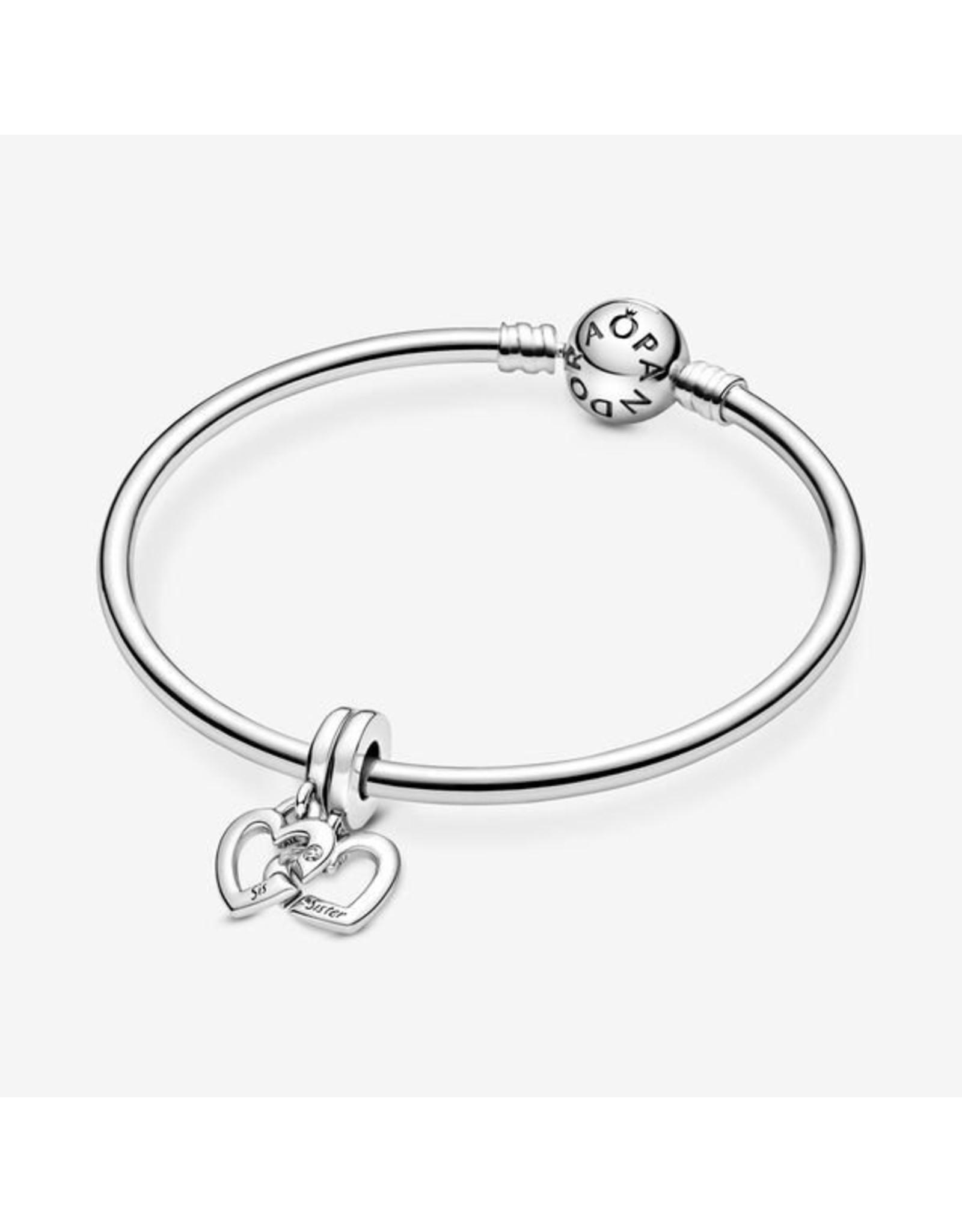 Pandora Pandora Charm,799538C01, Linked Sister Hearts Split Dangle, Clear CZ