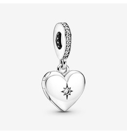 Pandora Pandora Charm, 799537C01, Openable Heart Locket Dangle, Clear CZ
