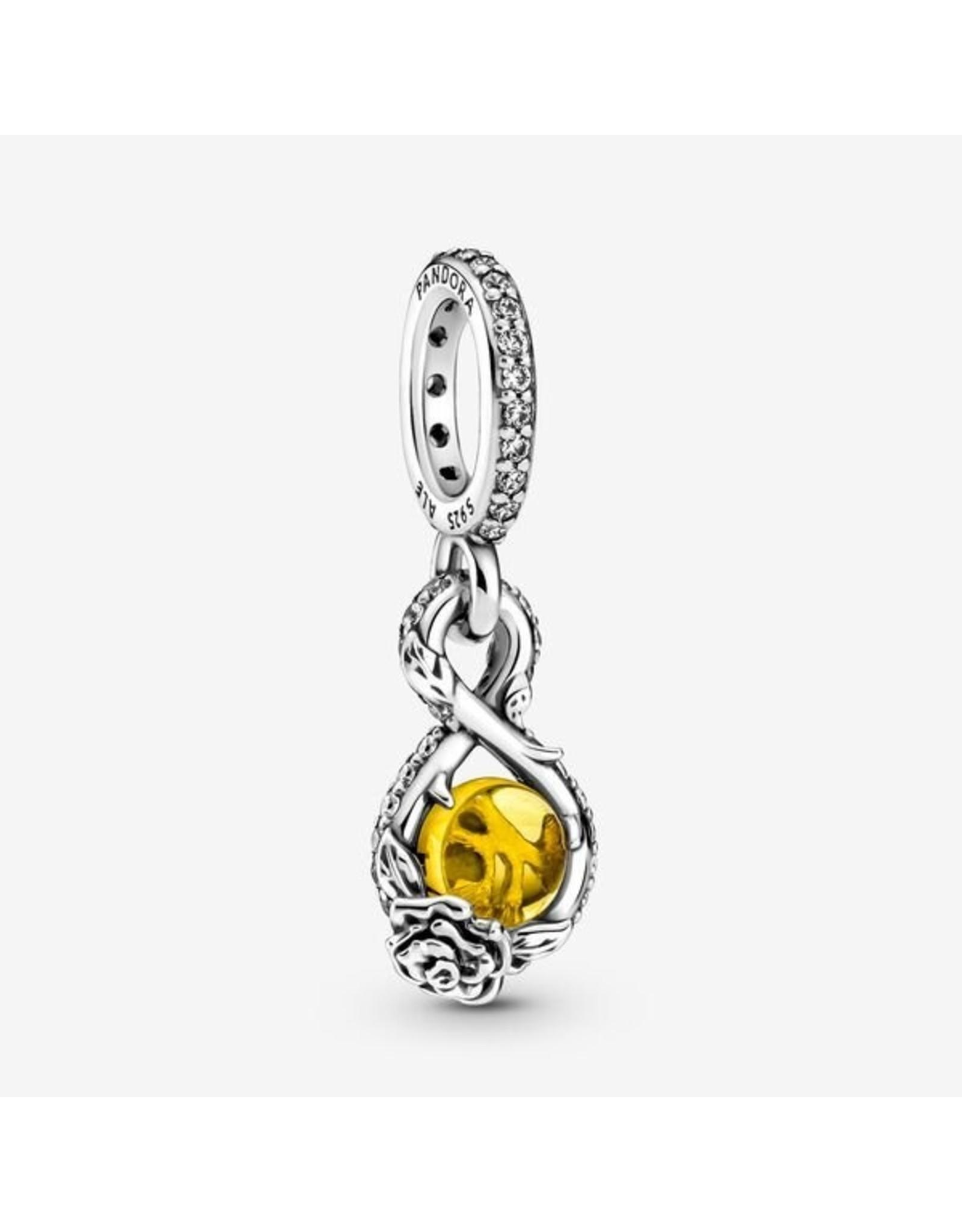Pandora Pandora Charm,399525C01, Disney Belle Infinity & Rose Flower Dangle, Yellow Crystal & Clear CZ
