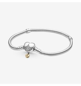 Pandora Pandora Bracelet,569563C01, Disney Claps Snake Chain, Clear CZ With Shine