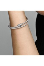 Pandora Pandora Bracelet, 599544C01, Double Wrap Barrel Snake Chain, Clear CZ