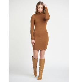 Soft Knit Turtle Neck Dress, Fox Brown