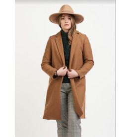 Lapel Collar Open Jacket, Camel