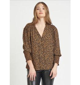 V-Neck Smocked Shoulder Blouse, Leopard