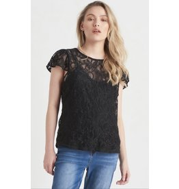 Dex Flutter Sleeve Lace Top, Black