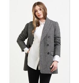 Dex Double Breasted Herringbone Jacket, Black/Grey