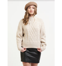 Cable Knit Sweater With Pearls, Oatmeal/Heather