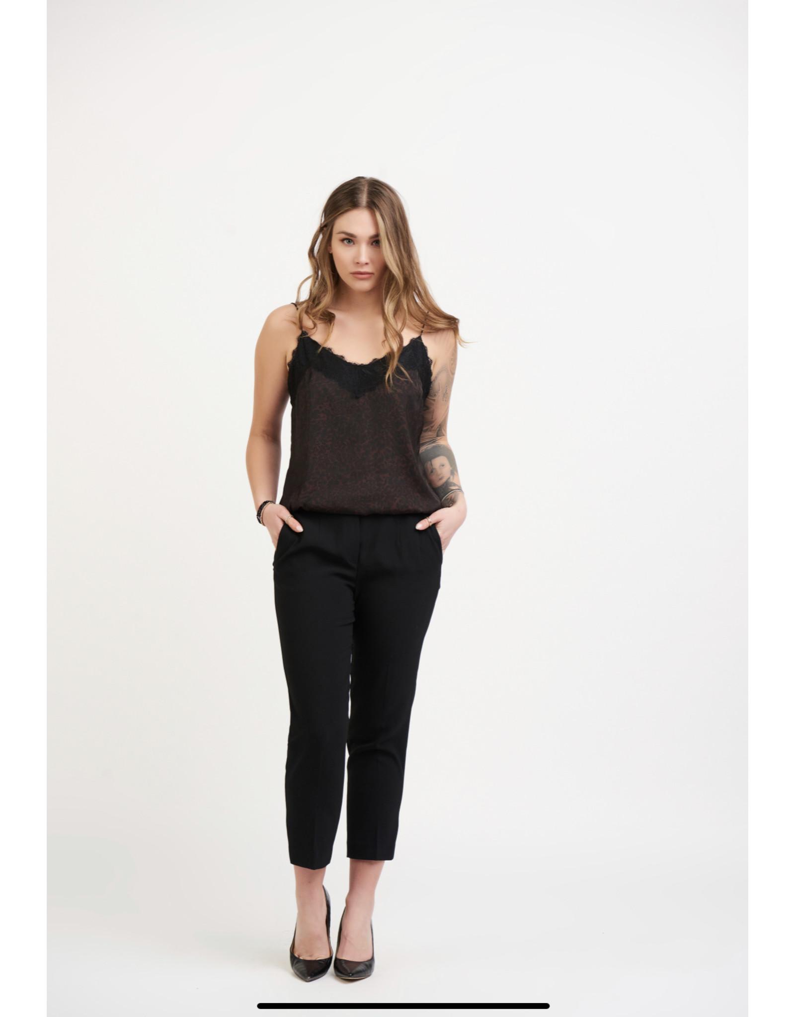 Dex Lace Trim Cami, Brown/Black