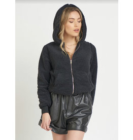 Plush Zip Up Jacket, Black