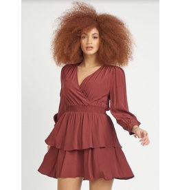 Dex Smocked Waist Flounced Dress, Rust