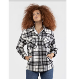 Button Front Plaid Overshirt, Black/White Plaid