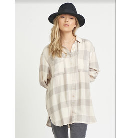 Front Button Shirt, Grey Plaid