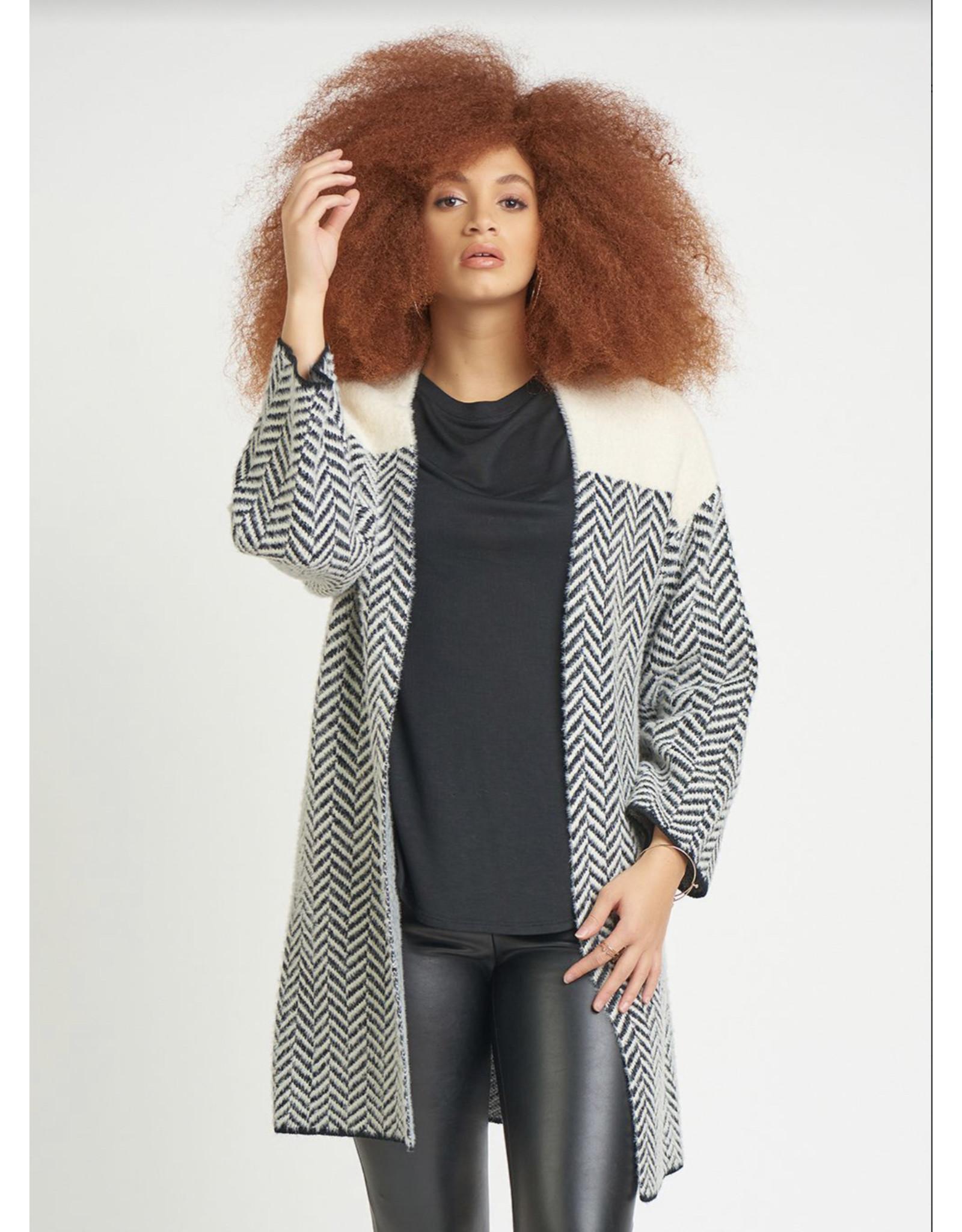 Eyelash Herringbone Pattern Cardigan, Cream/Black