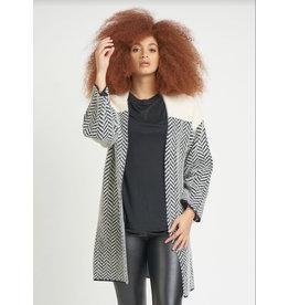 Dex Eyelash Herringbone Pattern Cardigan, Cream/Black