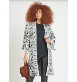 Dex Kimono Sleeve Snake Print Cardigan Sweater, Black/White