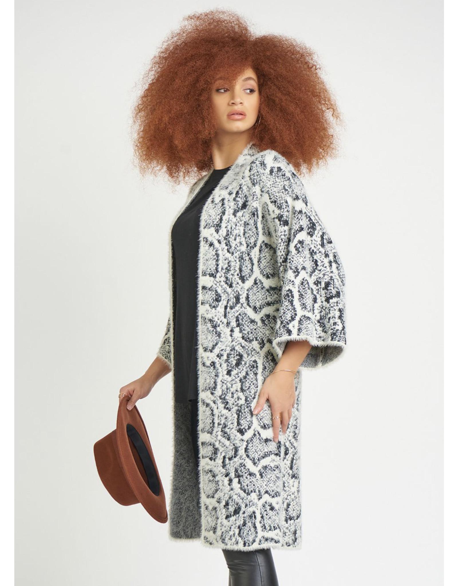 Kimono Sleeve Snake Print Cardigan Sweater, Black/White