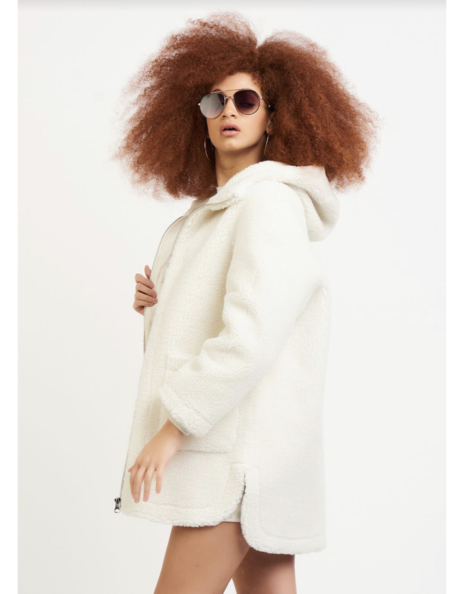 Dex Hooded Fleece Coat, Ecru
