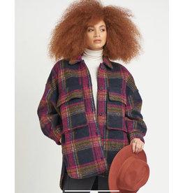 Dex Oversized Plaid Shirt Jacket, Plum