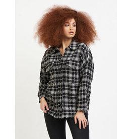 Plaid Texture Weave Overshirt, Black/White