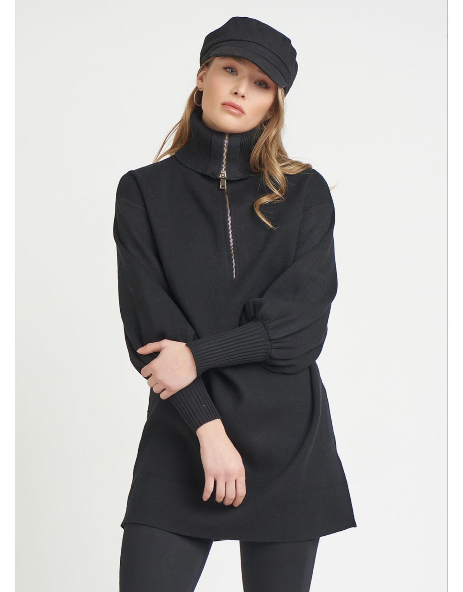 Dex Front Zip Turtle Neck Sweater, Black