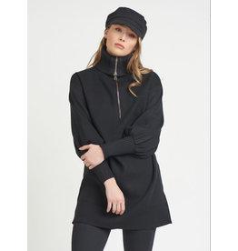 Front Zip Turtle Neck Sweater, Black