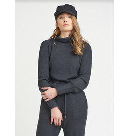 Turtle Neck Ribbed Top, Dark Charcoal