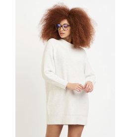 Mock Neck Sweater Dress, Cream