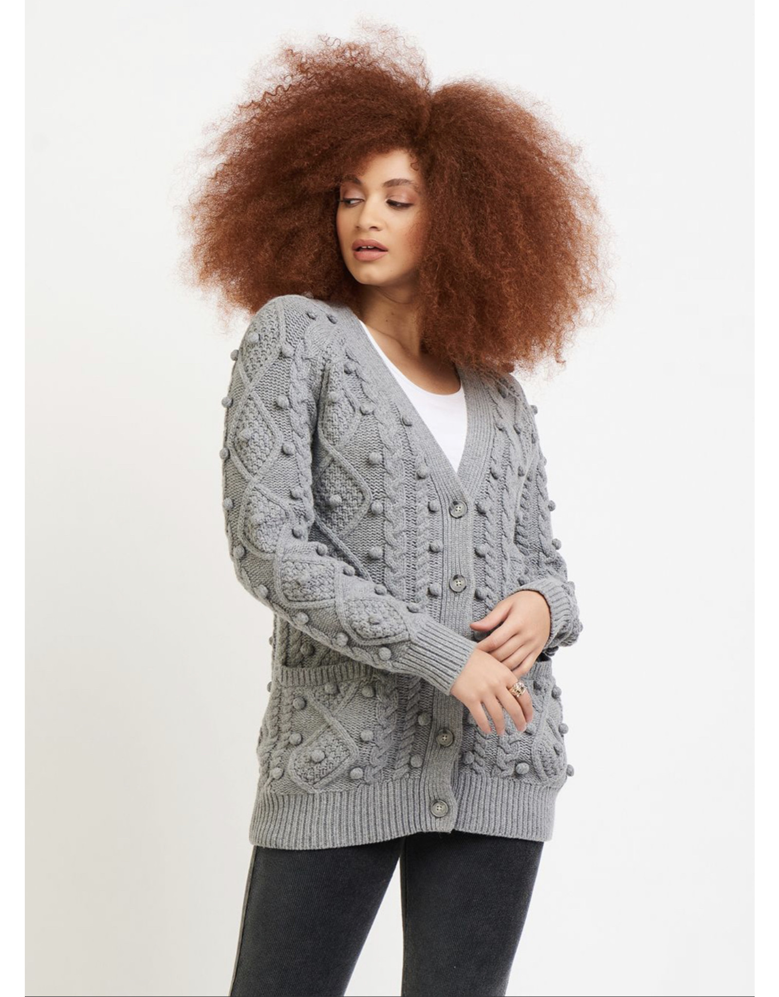 Dex Cable Knit Pom Pom Button Front Cardigan Sweater, Steel Grey