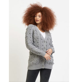 Cable Knit Pom Pom Button Front Cardigan Sweater, Steel Grey