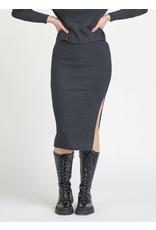 Dex Midi Slit Sweater Knit Skirt, Dark Charcoal