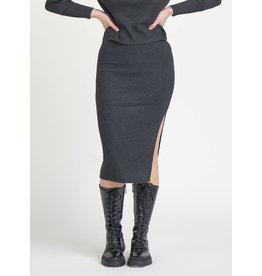 Midi Slit Sweater Knit Skirt, Dark Charcoal