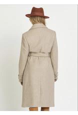 Dex Belted Collar Coat, Dark Oatmeal Mix