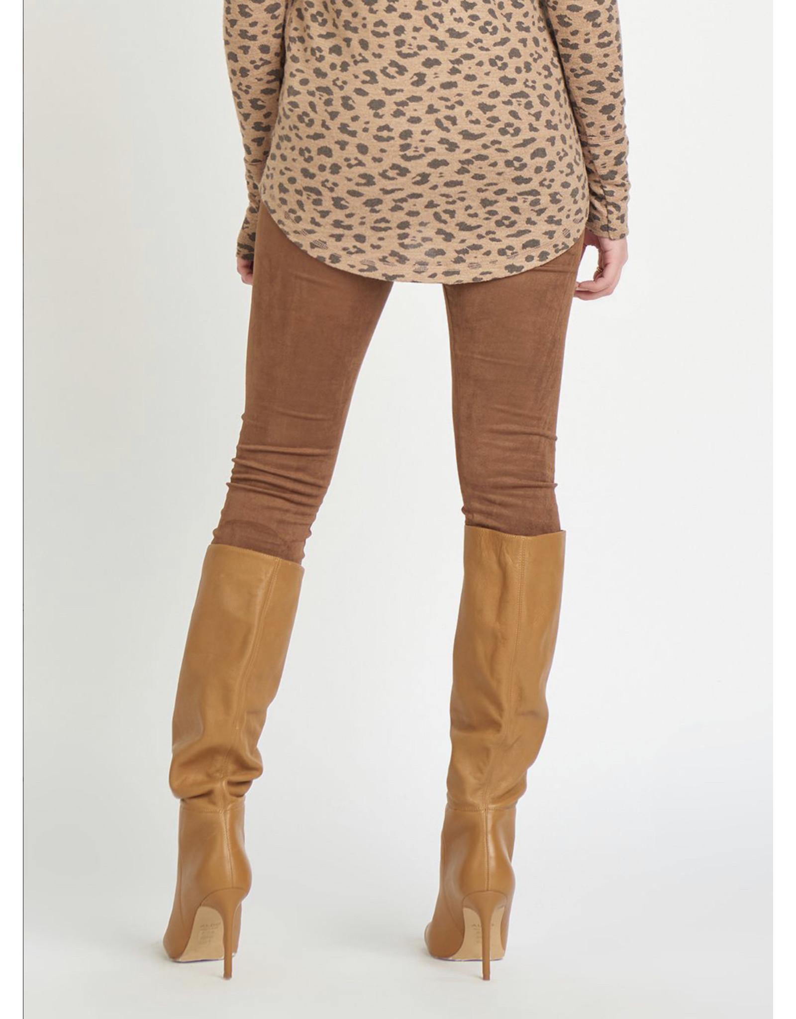 Faux Suede Leggings, Camel