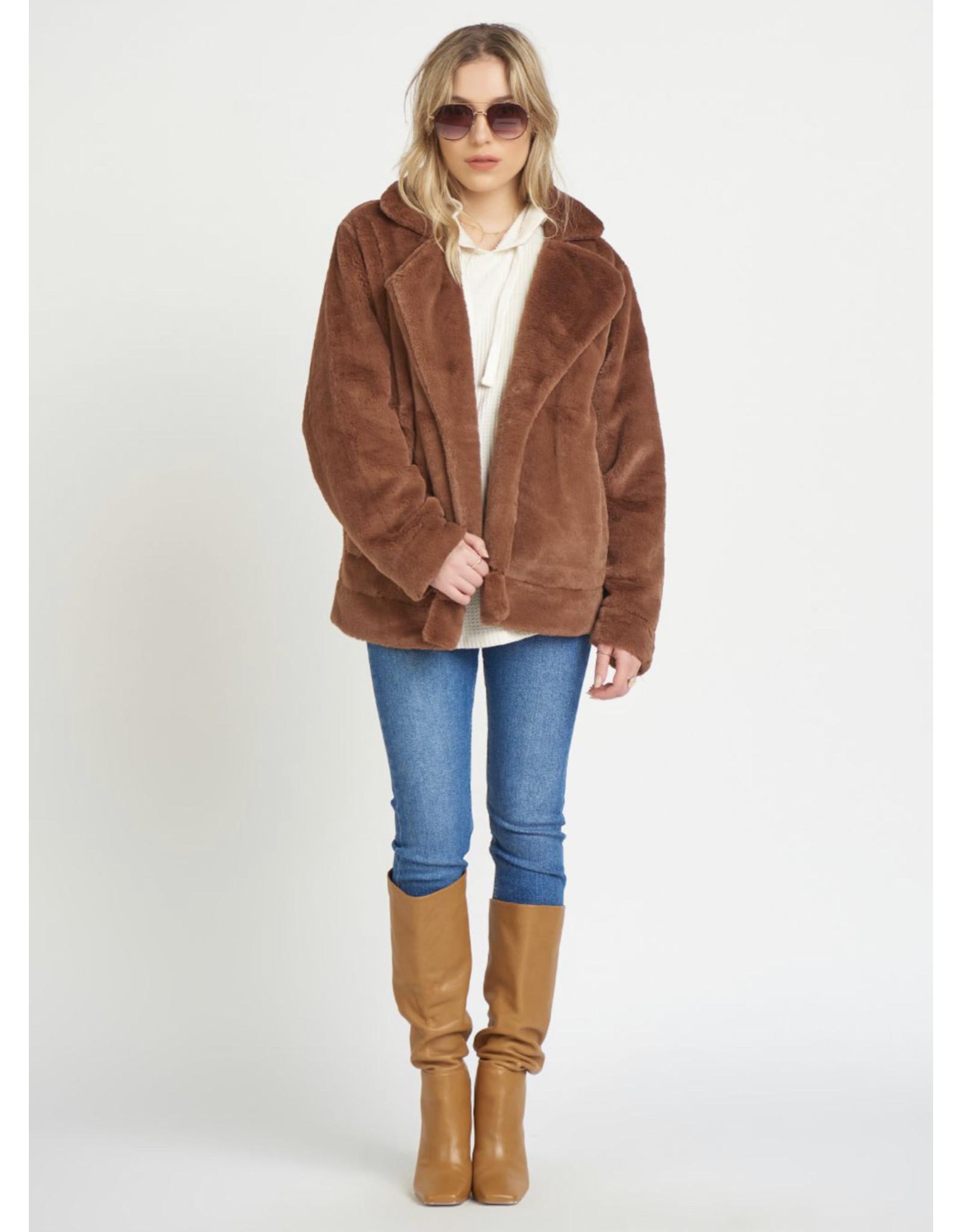 Dex Knit Lined Faux Fur Jacket, Brown