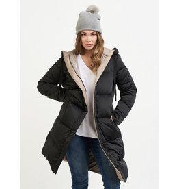 Reversible Hooded Coat, Black/Taupe