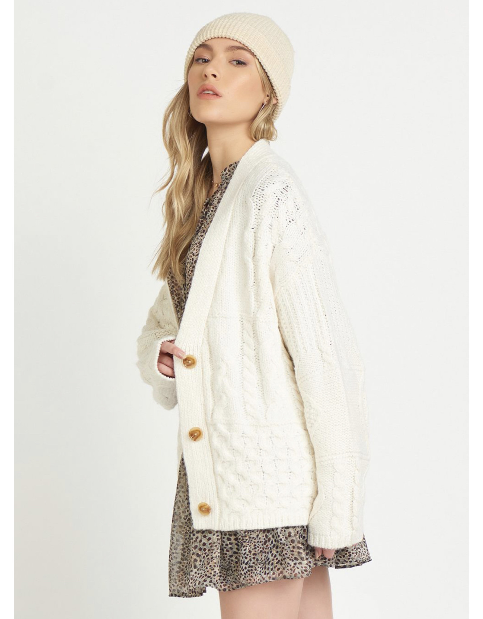 Oversized Cable Knit Cardigan, Cream