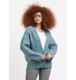 Dex Cable Knit Cardigan Sweater, Light Teal