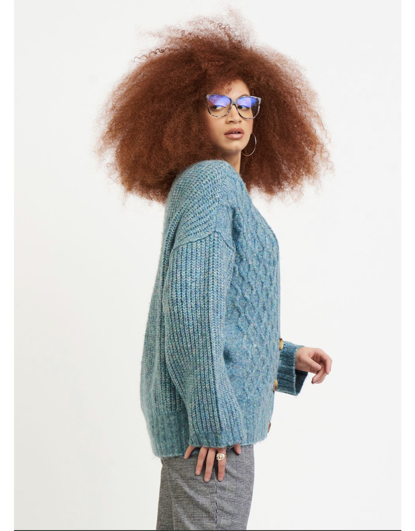 Cable Knit Cardigan Sweater, Light Teal