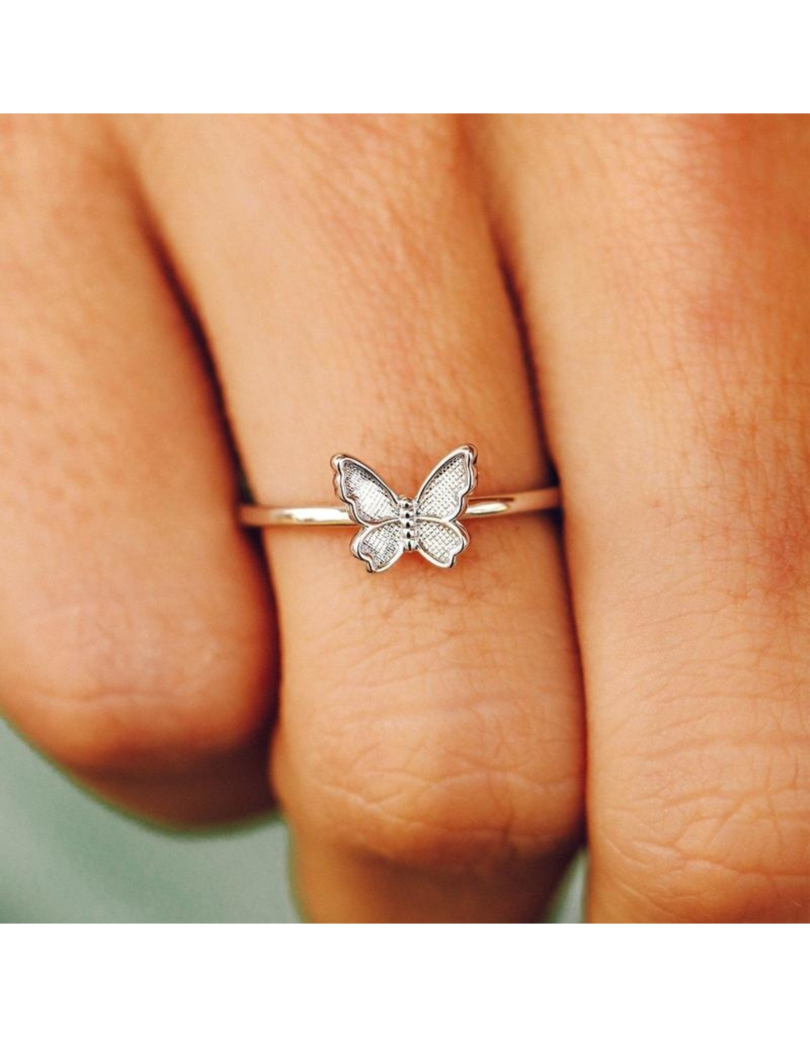 Pura Vida Butterfly In Flight Ring-Silver