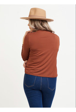Dex Plus Cowl Neck Top, Burnt Orange
