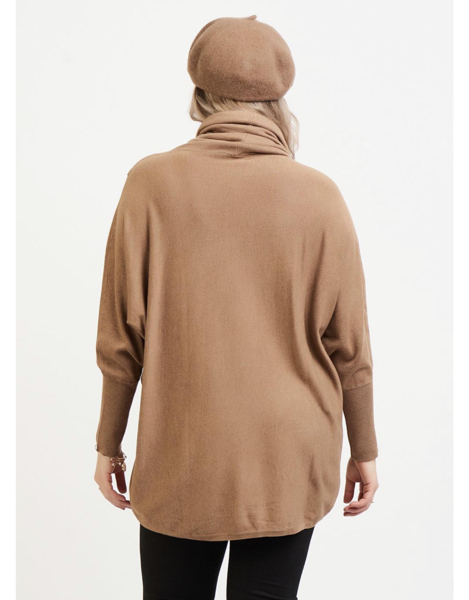 Dex Plus Drape Collar Crossover Tunic, Camel