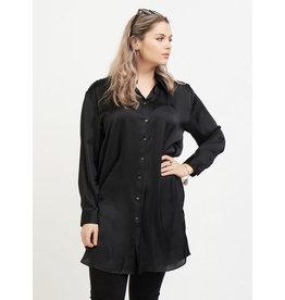 Dex Plus Tunic Blouse With Side Slits, Black
