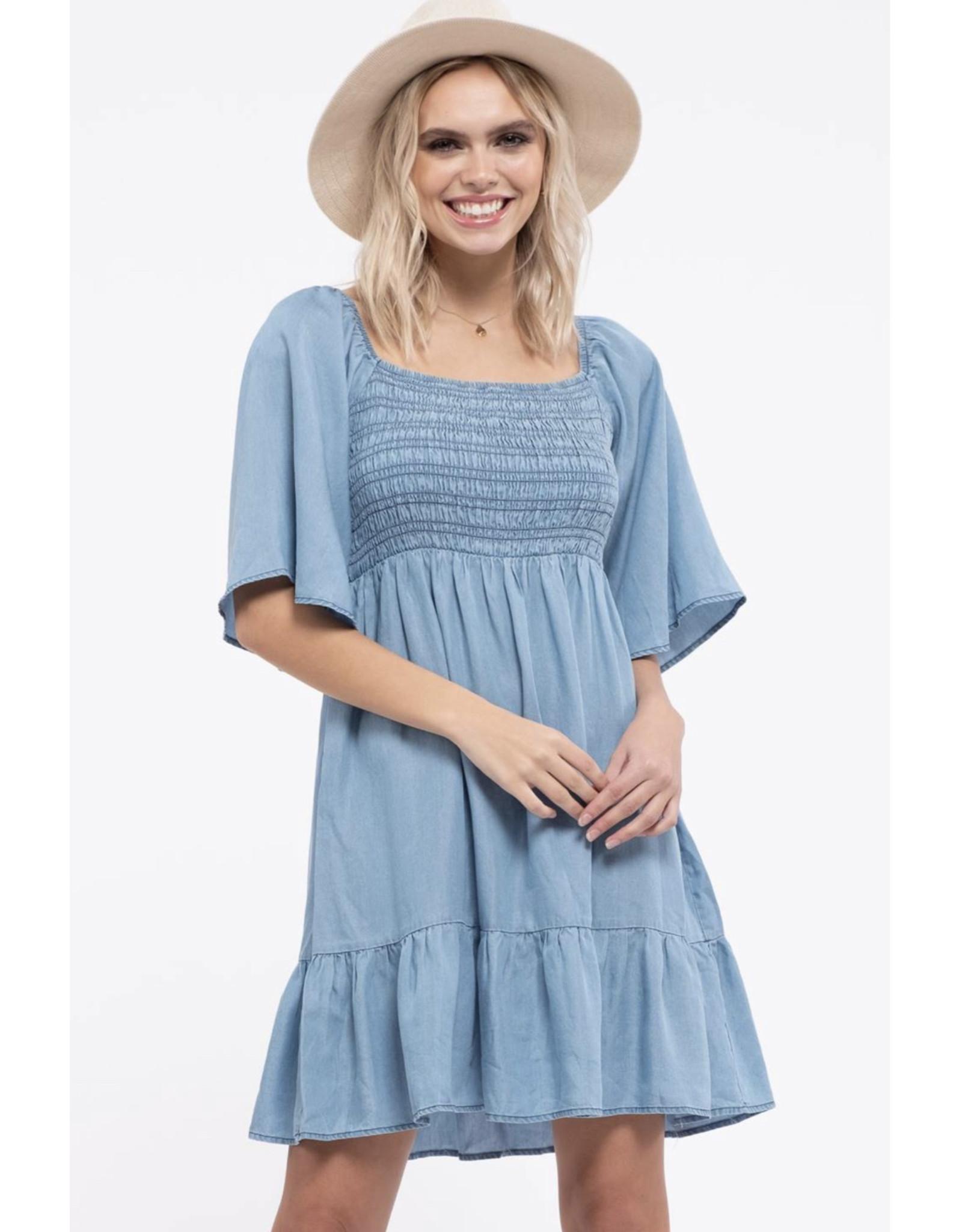 Blu Pepper Blu Pepper, Back Tie Mini Dress, Chambray