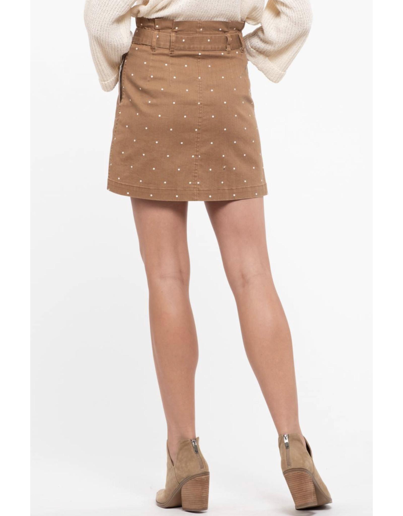 Blu Pepper Blu Pepper, Polka Dot Mini Skirt, Brown